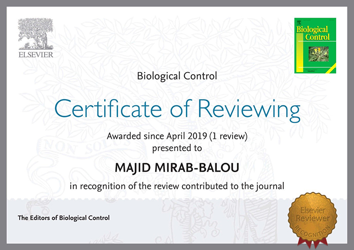 تقدیر سه عنوان از مجلات معتبر گروه تخصصی حشره شناسی از دکتر مجید میراببالو دانشیار دانشگاه ایلام